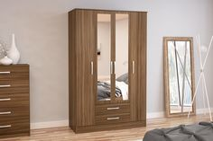 BIRLEA LYNX 4 DOOR 2 DRAWER ROBE WITH MIRROR, WALNUT
