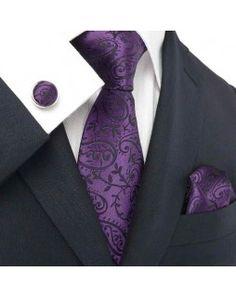 TheDapperTie - New Men's Purple Paisley Silk Tie Set 18331$39.99
