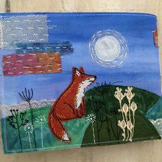 Fabric woodland fox Fabric Journals, Textile Art, Woodland, Moose Art, Fox, Textiles, Handmade, Animals, Animaux