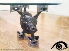 Crank and piston table
