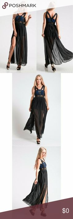 Maxi dress with side slits Front sequins detail. Lined with side slits and back zipper. 75% nylon 20% metallic thread 5% spandex Fashionomics Dresses Maxi