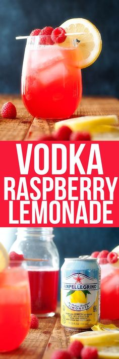 San Pellegrino Limonato with vodka and a splash of raspberry syrup #vodkadrinks
