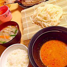 ノーマルの食べ方に飽きたので 適当にぶち込んだら美味しかった (੭ु´͈ ᐜ `͈)੭ु⁾⁾ァハ - 15件のもぐもぐ - 担々麺風つけ麺 by mah7