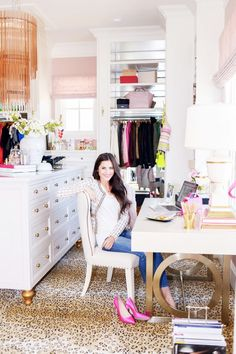 Style At Home : Pink Peonies Office/Closet Tour Home Office, Closet Office, Closet Bedroom, Closet Space, Closet Tour, Office Decor, Closet Desk, Office Spaces, Master Closet