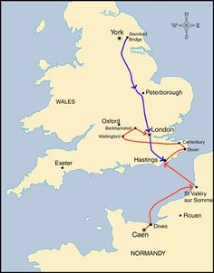 William the Conqueror | Map of William the Conqueror's campaigns and Harold's route from ...