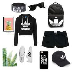 """""""Addidas"""" by alexia-chitul on Polyvore featuring Topshop, adidas, Frame Denim and Ray-Ban"""