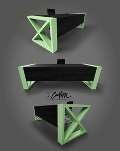 Mint chocolate chip? Black Ash with a mint powder coated steel custom desk! IRcustom.com