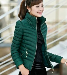 Style coréen nouvelle mode élégante femmes Super chaud hiver coton Down jacket pied de col couleur Pure grands chantiers manteau court (44$) 22$ 19$ App. acheter celui-là vert j'ai acheté