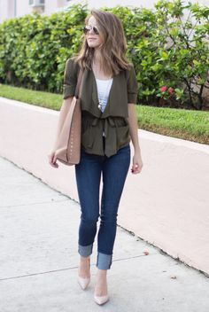 spring / summer - street style - street chic style - summer outfits - military belted waterfall jacket + khaki belted waterfall jacket + khaki belted trench coat + skinny jeans + nude stilettos + white tee + nude tote + aviators
