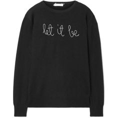 Lingua Franca Let It Be embroidered cashmere sweater ($380) ❤ liked on Polyvore featuring tops, sweaters, shirts, outerwear, sweatshirt, black, cashmere shirt, pure cashmere sweaters, knitwear sweater and cashmere sweater