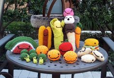 Oh, how much fun this would be!  Amigurumi Assorted Play Food Set  Stuffed Toys by thesuperchick10, $60.00