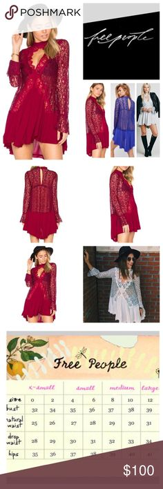 """Free People Secret Origins Pieced Lace Tunic. NWT. Free People Raspberry Secret Origins Pieced Lace Tunic/Mini Dress, 36% rayon, 33% polyester, 31% nylon, machine washable, 19"""" armpit to armpit (38"""" all around), 19"""" arm inseam, 28"""" shortest front length, 36"""" longest back length, romantic lace pieced and crepe tunic, swingy silhouette, front/back keyhole cutouts, mother of pearl button closures at nape/fluted bell cuffs, sheer lace top and sleeves with crinkly crepe skirt, long sleeves, raw…"""