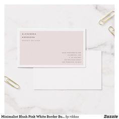 Minimalist Blush Pink White Border Business Card