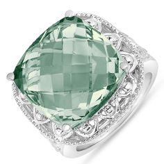 NissoniJewelry.com presents - Lovely Fashion Ring with Green Amethyst in Sterling Silver 925    Model Number:FR8186-SIGAM    Price:$129.99    https://nissonijewelry.com/jewelry/lovely-fashion-ring-with-green-amethyst-in-sterling-silver-925/fr8186-sigam.html