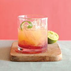 Sunset Margarita  1/3 cup each tequila and triple sec   3 tablespoons orange juice  2 tablespoons lime juice  4 tablespoons pomegranate juice  2 twists fresh lime peel