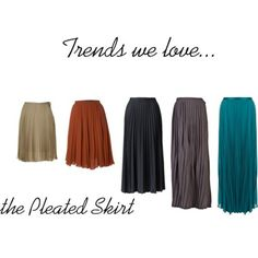 Trend: pleated or 'full' skirt    Why we love them: These skirts add a feminine element to your attire and can easily be dressed up or down. They are flattering to every body type and come in an array of colors and materials.     All of the pleated skirts I own I've bought at a thrift store. I always buy long skirts and I alter them to different lengths.     Plus Size Tip: For a more flattering look, wear the skirt right above your navel. A crop top or a shirt tucked in will look best!