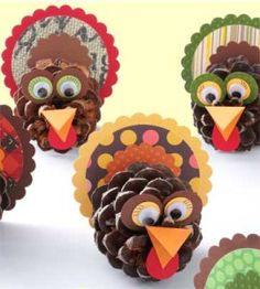 Fun update of a classic craft -- pinecone turkeys -- for Thanksgiving place cards or decorating. See our website.