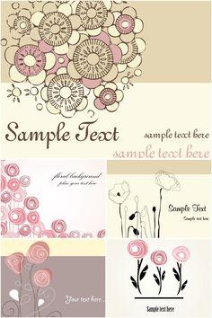 ふんわりと、ゆるい感じのイラスト素材で、なんともお洒落です メッセージカードやグリーティングカードを独特な雰囲気で華やかに! Greeting cards with flower……