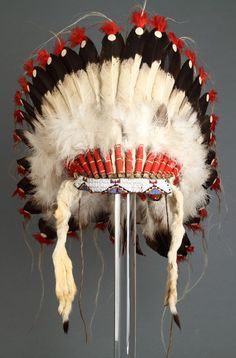 North American Eagle Feather Headdress, (Eagle feather, material, beadwork, hide, red felt, horse hair, fur), 19th Century