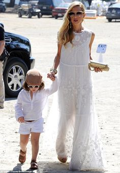 Rachel Zoe and her adorable sons embrace white after Labor Day dressed in matching outfits at the Polo Classic | Daily Mail Online