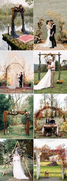gorgeous fall seasonal wedding ceremony altar and arch decoration ideas