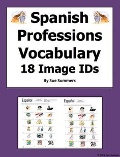 Spanish Professions 18 Vocabulary Image IDs Worksheet by Sue Summers
