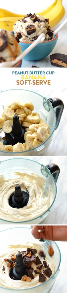 This peanut butter cup banana soft serve is a healthy way to satisfy your ice cream craving. All you need is homemade peanut butter cups and frozen bananas!