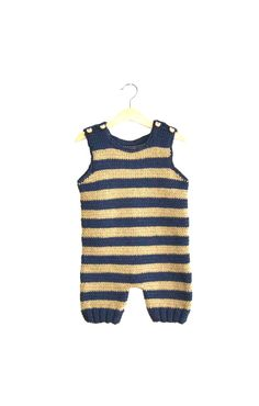Baby Boy Romper Sleeveless and Short Leg with ''wooden bear'' buttons, Dark Blue and Beige Striped, Cotton Yarn, months Knitting For Kids, Baby Knitting, Crochet Baby, Knitted Baby, Cute Babies, Baby Kids, Baby Boy Romper, Baby Boy Fashion, First Baby