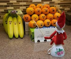Singer Elf On The Shelf Playing Music With Lovely Fruits