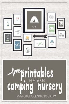 FREE camping themed printable nursery wall art from Chickadee Art and Company… Camping Bedroom, Camping Nursery, Camping Theme, Camping Crafts, Boys Camping Room, Camping Tips, Camping Kitchen, Truck Camping, Nursery Themes