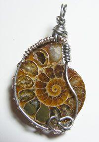 Wire wraped anemone pendant