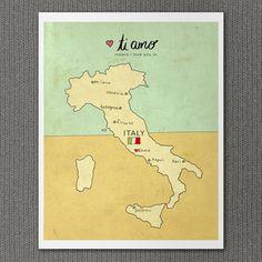 I Love You in Italy 8x10 / Typographic Print, Italian Map, Giclee, Modern Baby, Nursery Art, Illustration, Travel Theme, Digital Print