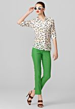 Parakeet blouse and kelly green capris