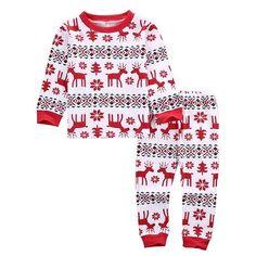 ea40509044 Dasher Reindeer Print Christmas Pajamas -- Two Piece Set -- Toddler to Teen  Sizes