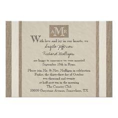 Country Wedding Reception Post Invitation