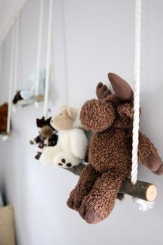 Make A Stuffed Toy diy branch swing shelves.cute idea for a playroom. - These DIY branch shelves are an easy and stylish way to decorate a nursery or kid's room. You can use them to hang stuffed toys and many other things. Baby Bedroom, Baby Room Decor, Nursery Room, Girl Nursery, Kids Bedroom, Kids Rooms, Bedroom Ideas, Room Kids, Newborn Nursery