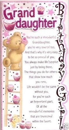 Birthday Quotes : Happy Birthday to a special Granddaughter. Birthday Quotes : Happy Birthday to a special Granddaughter. - The Love Quotes Birthday Verses, Happy Birthday Quotes, Birthday Messages, Happy Birthday Wishes, Birthday Images, Happy Quotes, Top Quotes, Nana Quotes, Birthday Greetings