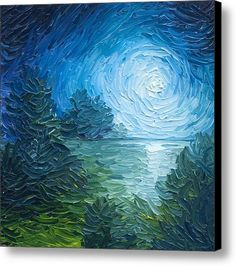 River Moon Canvas Print / Canvas Art By James Christopher Hill - It seems van gogh inspired with texture palette knofe impasto ? Moon Painting, Painting & Drawing, Lake Painting, Finger Painting, Landscape Art, Landscape Paintings, Art Paintings, Arte Van Gogh, Palette Knife Painting
