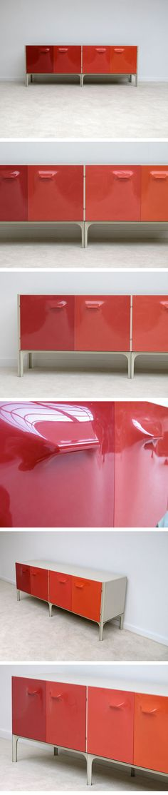 DF2000 Cabinet by Raymond Loewy for Dubinsky Freres. ( credenza / side board / cabinate / red / modern furniture / design )