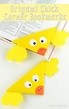 Chick Corner Bookmark - Origami For Kids - Easy Peasy and Fun