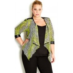 Liven up your summer style with our striking 3/4 Sleeve Sexy Animal Jacket. This sheer, light weight jacket features a vibrant animal print, open drape front, wet look trim and zip detail on its waistband at back.