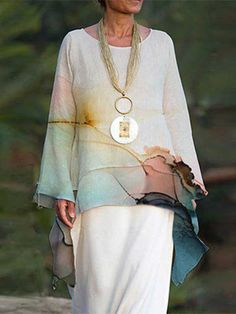 Mature Fashion, Midi Dress With Sleeves, Casual Tops For Women, Linen Blouse, Printed Linen, Women Sleeve, Types Of Sleeves, T Shirt, Clothes For Women