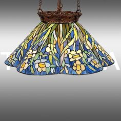New in The Box Daffodil and Iris Tiffany Style Stained Glass Hanging Lamp | eBay