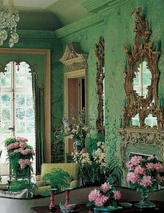 "Design Legends: William Haines In 1969 the Annenbergs hired Haines and Graber to redecorate Winfield House, the U. Embassy residence in London. ""It was exquisite,"" Haines said of the hand-painted Chinese wallcovering he used on the garden room's walls. Shades Of Green, Pink And Green, Emerald Green, Bright Green, Olive Green, Beautiful Interiors, Beautiful Homes, Winfield House, Interior And Exterior"