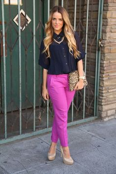 Bright pink pant outfit