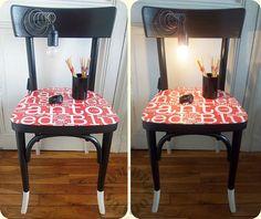 Une chaise, de la lumière des mots = le Chevet Chalumots by Custom' Bricol'