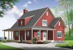 front Beautiful and small new modern farmhouse home plan, 3 to 4 bedrooms, open floor plan, affordable, fireplece - Hickory Lane 2