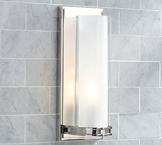 "Pearson Tube Sconce #potterybarn | polished nickel or chrome $179 | 4.75"" wide x 6"" deep x 28.5"" high"