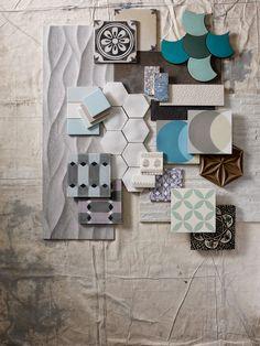 Still Life photography by Sarah Hogan Styling Luisa Ferdenzi Homes & Gardens Tile Design, Web Design, Mood Board Interior, Material Board, Concept Board, Colour Board, Tile Patterns, Colour Schemes, Interiores Design