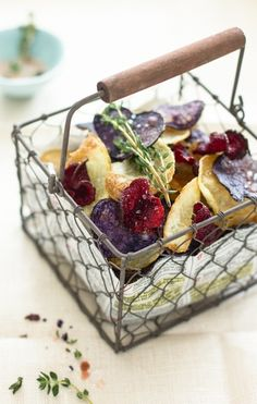 Sips and Spoonfuls: Beet and Potato Chips with Thyme Rock Salt